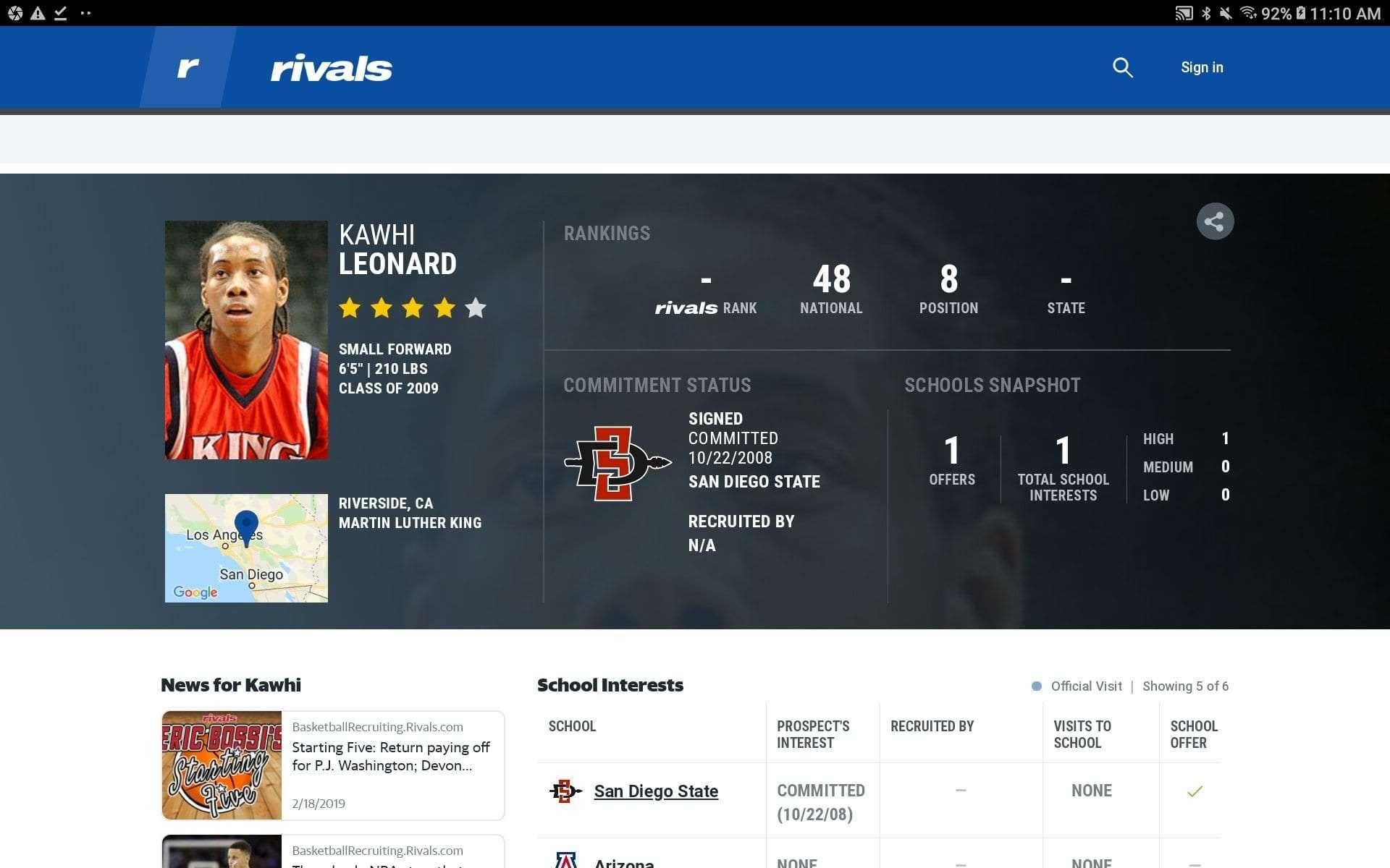 Kawhi Leonard Rivals.com recruiting card