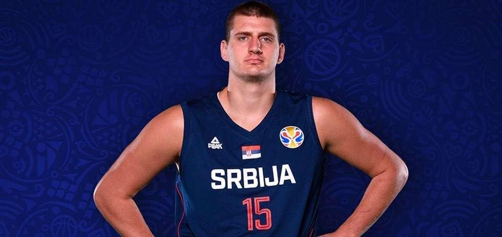 Nikola Jokic posing in Serbian Jersey
