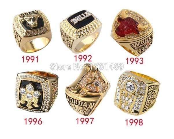 The Chicago Bulls six championship rings
